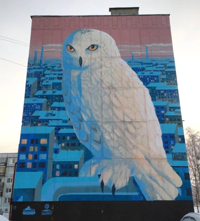 Граффити на торце пятиэтажки Граффити, Северодвинск, Фотография, Длиннопост