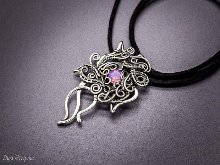 Волшебный цветок Wire wrap, Swarovski, Кулон, Рукоделие без процесса, Цветы, Фотография, Длиннопост