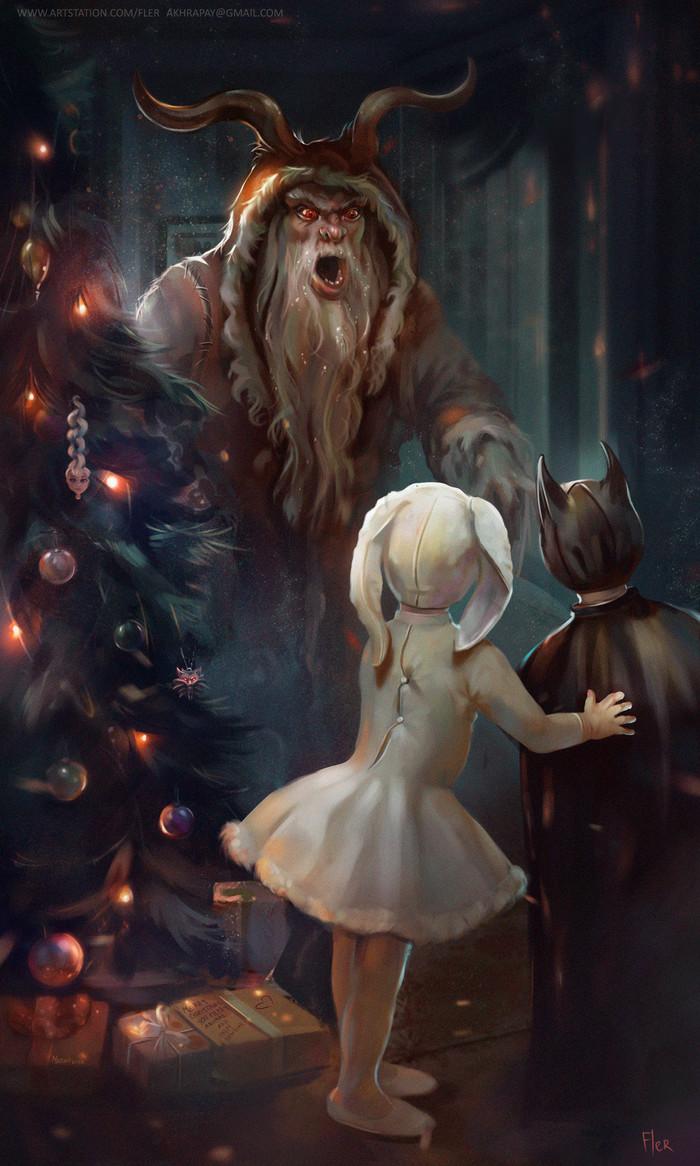 Когда вел себя плохо Новый Год, Рождество, Фэнтези, Дед Мороз, Крампус, Дети, Новогодняя елка, Арт