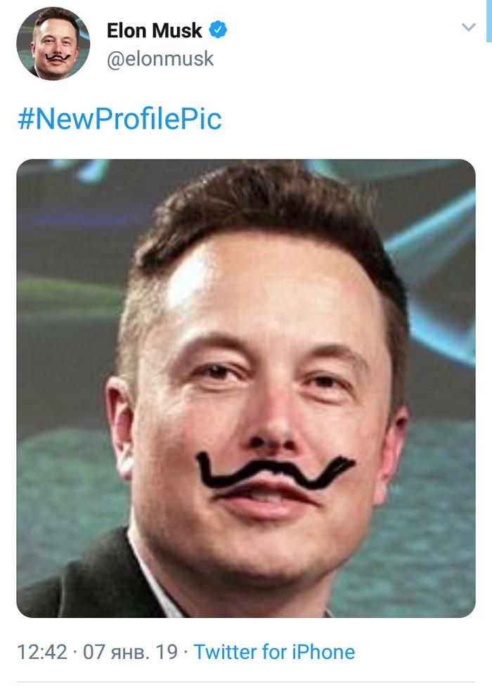 Усы Илона Илон Маск, Скриншот, Twitter