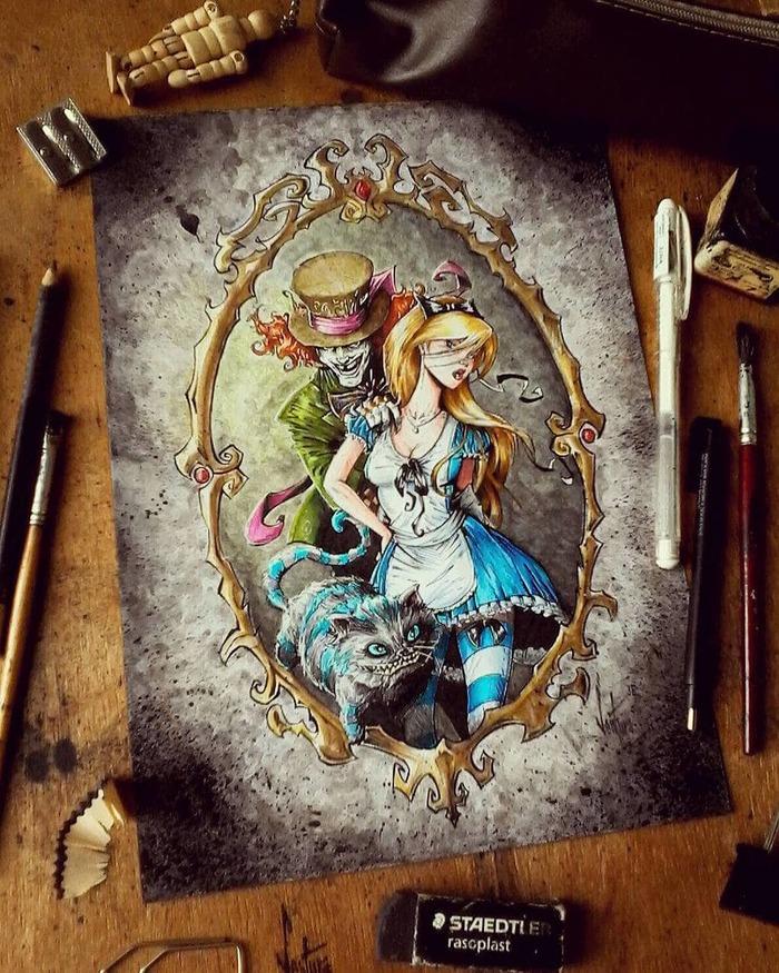 Художник разрушает стереотипы, представляя героев мультфильмов в жутких и совсем не детских образах Мультфильмы, Рисунок, Перерисовка, Длиннопост