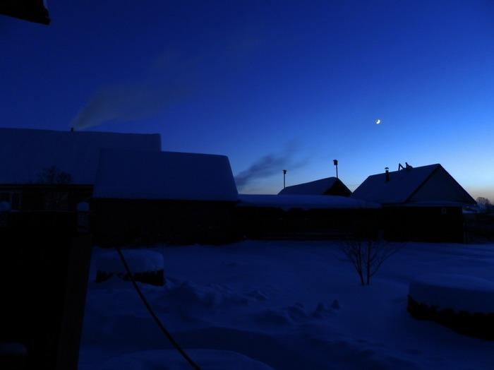 Папина фотография Зима, Закат, Луна, Папина фотография, Мессенджер