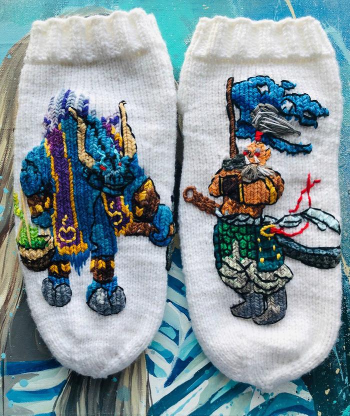 Теплый вязанный подарок Носки, Вязание, Warcraft, Dota, Длиннопост