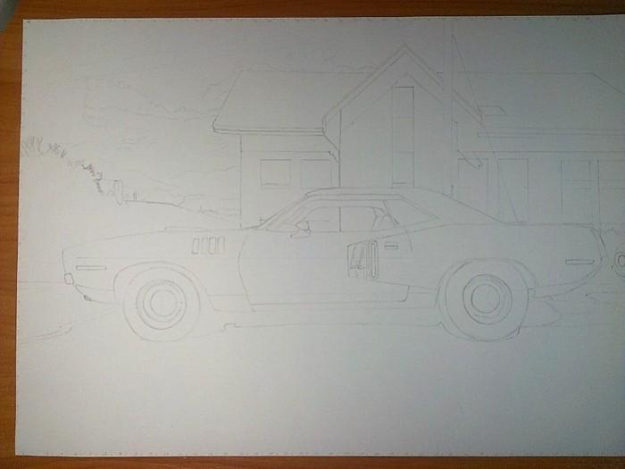 Plymouth Cuda 1971 Арт, Рисунок, Рисунок ручкой, Шариковая ручка, Авто, Plymouth, Длиннопост, Фотореализм