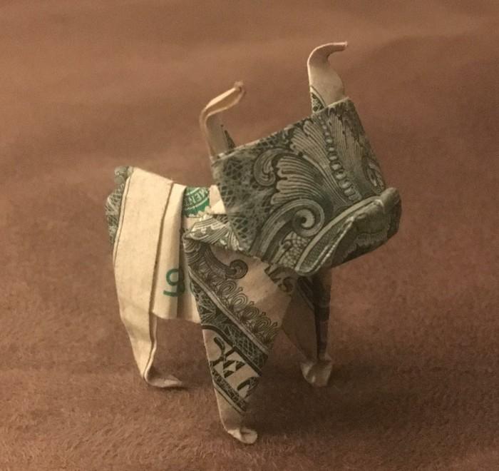 Оригами 1$ бульдог Reddit, Оригами, Бульдог, Доллар, Деньги, Туториал, Видео