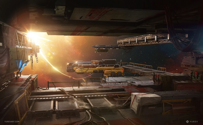 Пирс Арт, Научная фантастика, Sci-Fi, Цифровой рисунок, Рисунок, Концепт-Арт, Космическая станция