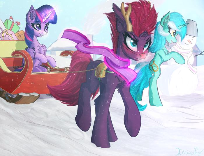 Почти Рождественский олень My Little Pony, Twilight Sparkle, Tempest Shadow, Lyra Heartstrings, Рождество