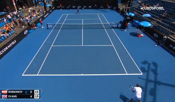 Чудо-ударДэниела Эванса на Australian Open Спорт, Теннис, Australian open, Дэниел Эванс, Гифка