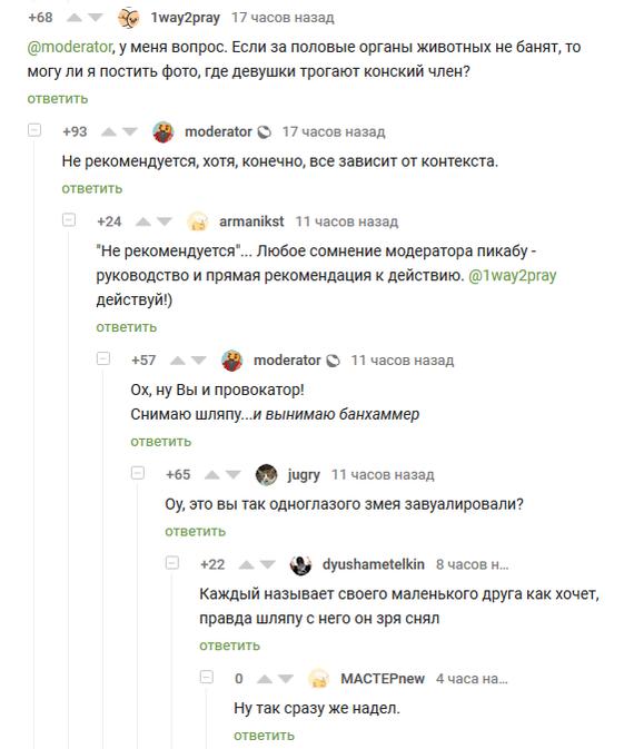 Маленькие друзья модераторов Комментарии на Пикабу, Комментарии, Модератор, Скриншот