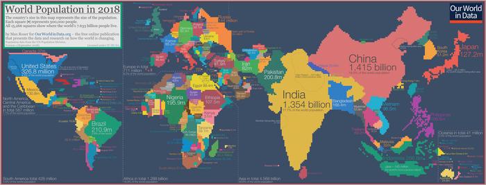 Наглядно про демографию Демография, Картограмма, Статистика, Население, Карта мира, Юмор, Длиннопост