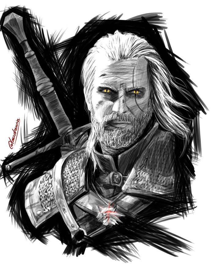 The Witcher Art. The Witcher 3:Wild Hunt, Арт, Йеннифер, Геральт из Ривии, Длиннопост, Ведьмак
