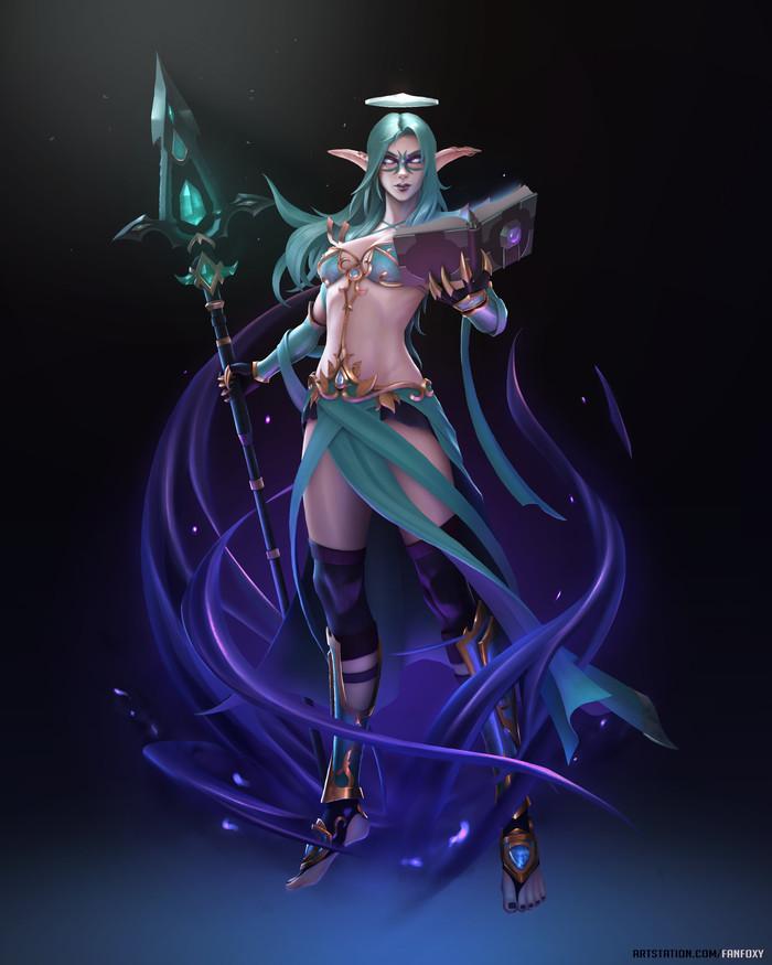 Night Elf Mage. World of Warcraft, Эльфийка, Арт