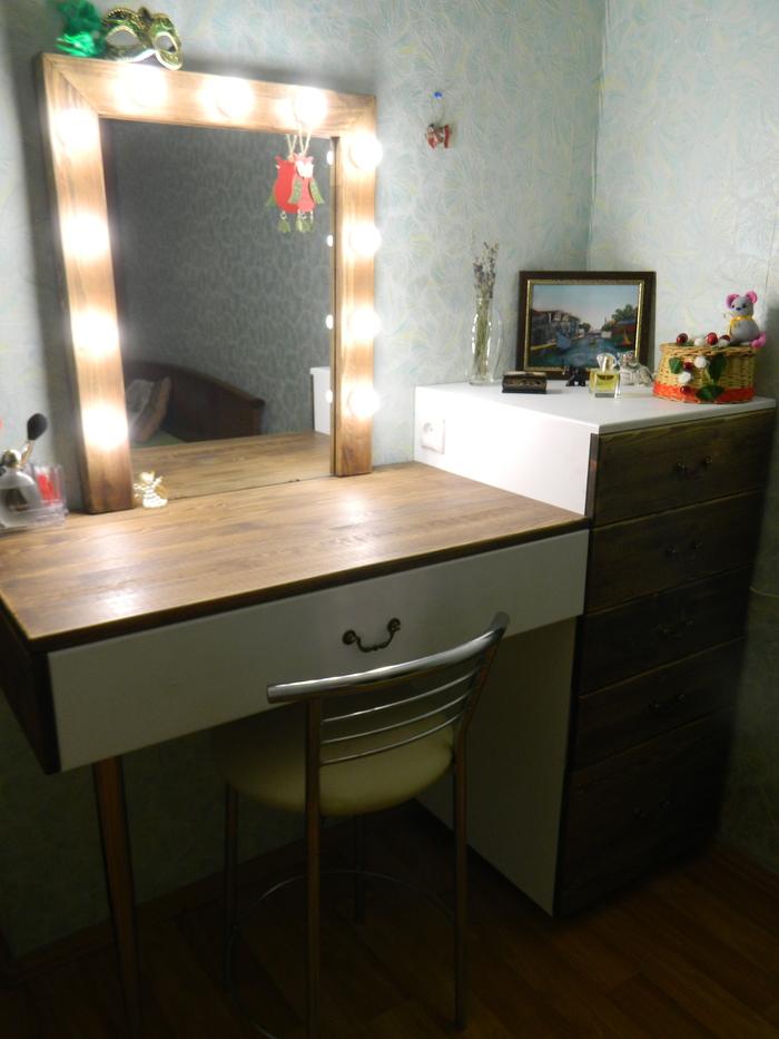 Туалетный столик Своими руками, Стол, Зеркало, Макияж, Работа с деревом, Длиннопост, Рукоделие без процесса