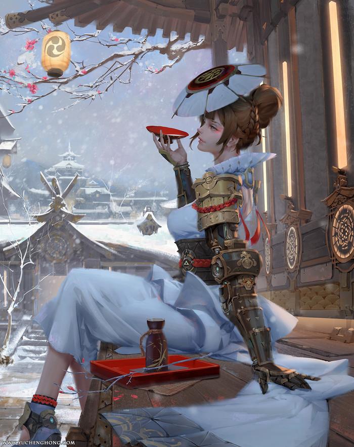 Когда идет снег. Девушки, Япония, Киборги, Снег, Арт, Digital
