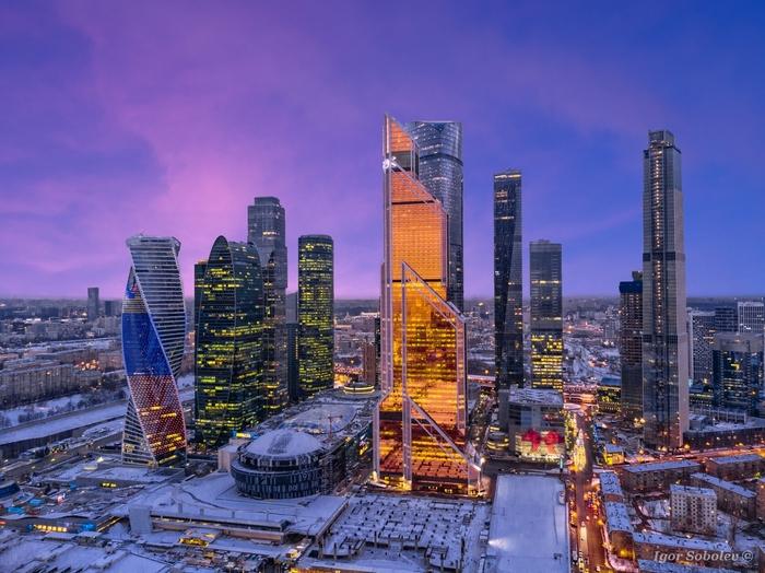 Москва-сити на закате Москва-Сити, Фотография, Москва