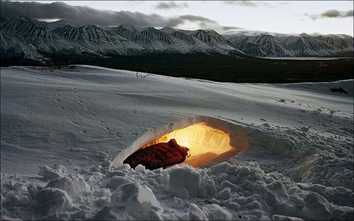 Ночевка под снегом