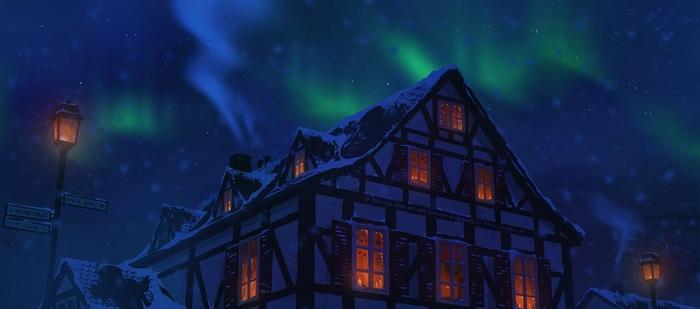 Северное сияние Арт, Рисунок, Северное сияние, Зима, Дом, Niklas Bellok