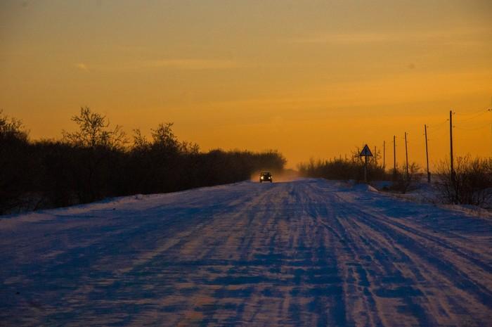 Закат Фотография, Деревня, Алтай, Зима, Закат, Пейзаж, Длиннопост
