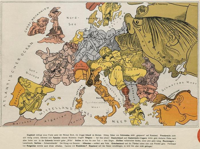 Немецкая карта-карикатура Первой мировой войны Карикатура, Политическая карикатура, Первая мировая война, Карты, Иллюстрации, Германская империя, История