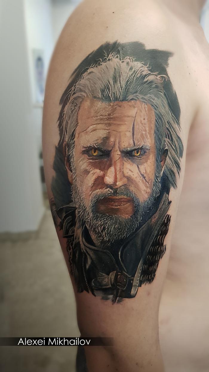 Татуировка в стиле реализм Ведьмак, тату мастер Алексей Михайлов (Екатеринбург | Польша)