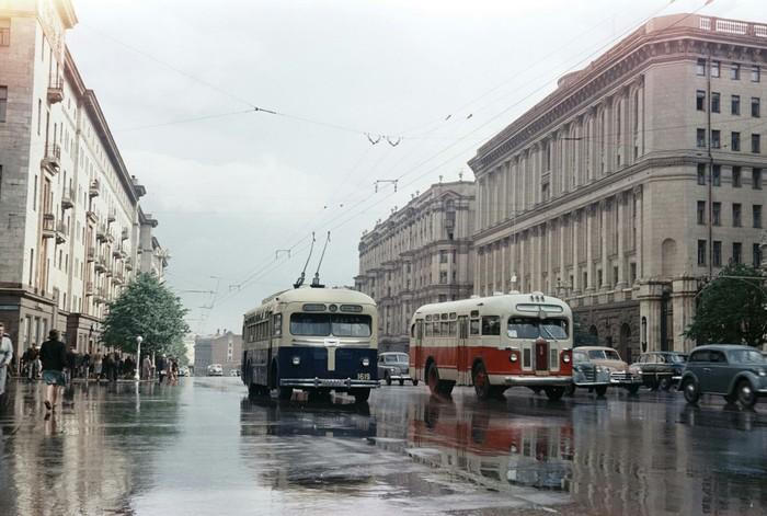 Дождливая Москва 1956 года Москва, СССР, История в фотографиях