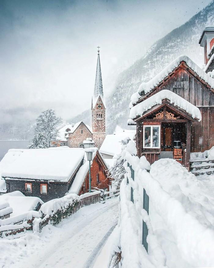 Халльштатт. Австрия. Красота природы, Австрия, Деревня, Халльштатт, Зима