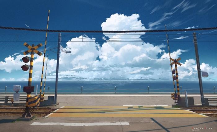 Железная дорога Арт, Рисунок, Япония, Железнодорожный переезд