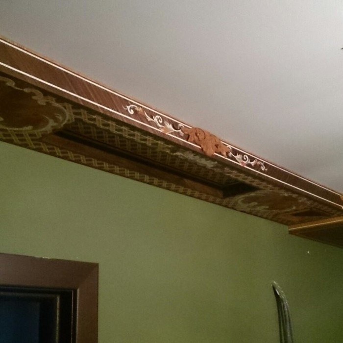 Мозаика из шпона дерева (МАРКЕТРИ). Потолок ручной работы. Резьба по дереву Маркетри, Работа с деревом, Прихожая, Мозаика, Потолок, Ручная работа, Инкрустация, Длиннопост