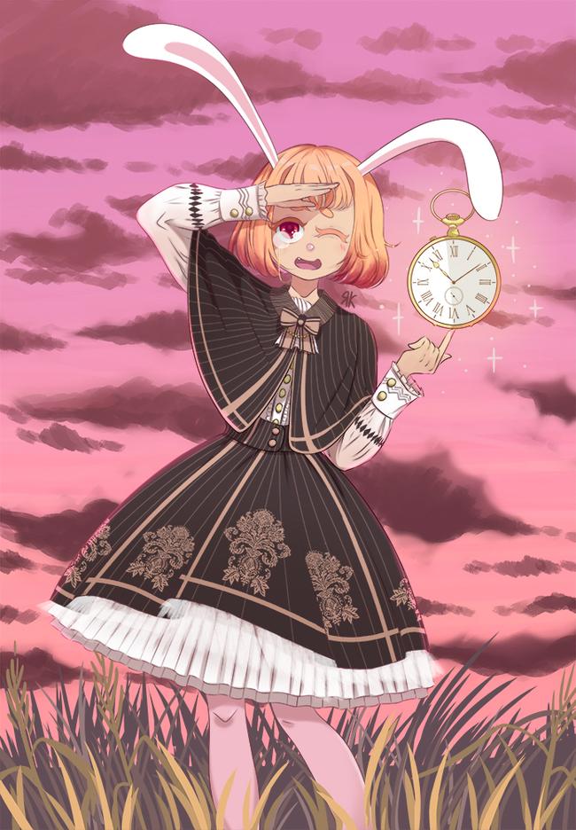 Кролик-тян Аниме, Кролик, Арт, Рисунок, Anime Art, Авторское, Animal Ears
