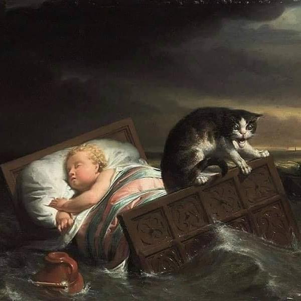 Как кот ребёнка спас. Нидерланды, Наводнение, Легенда, Картина