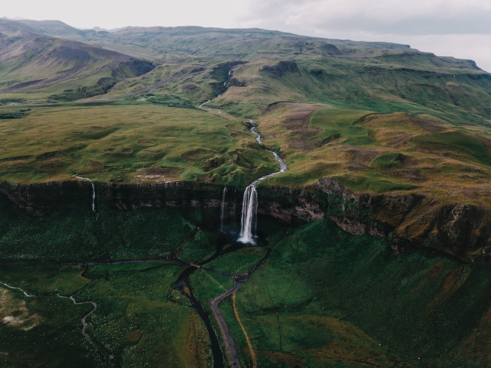 Водопад Seljalandsfoss, Исландия Исландия, Фотография, Квадрокоптер, Природа