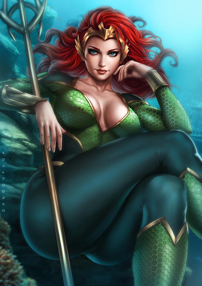 Queen Mera Art Арт, Dandonfuga, DC, DC Comics, Мера, Супергерои, Девушки