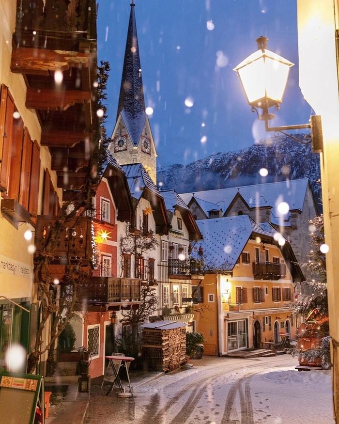 Зимние улочки Халльштатта... Фотография, Снег, Город, Красота, Халльштатт, Австрия