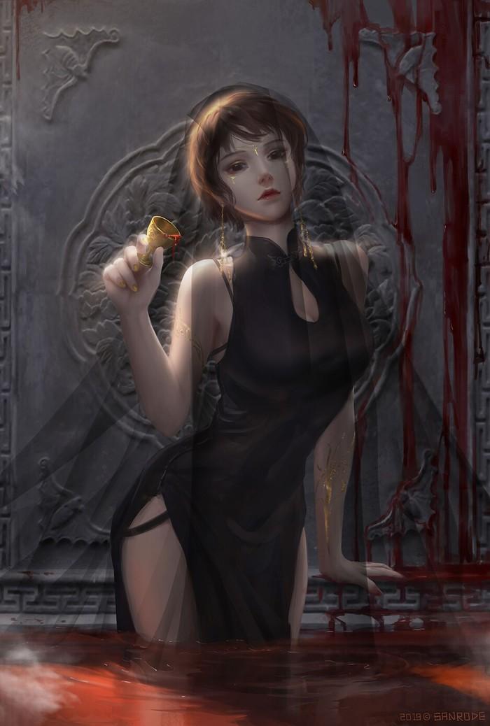 Вишневый блейзер Арт, Рисунок, Девушки, Кровь