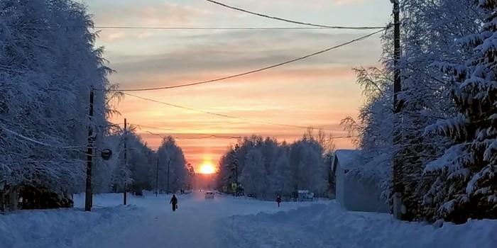 15:00 уже закат Закат, Коми, Север, Фотография, Зима