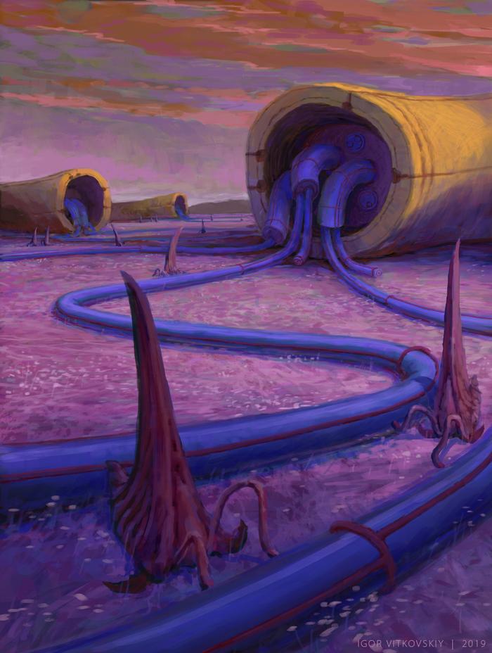 Tubes Ландшафт, Цифровой рисунок, Сюрреализм, Труба, Органика, Рисунок, Концепт-Арт