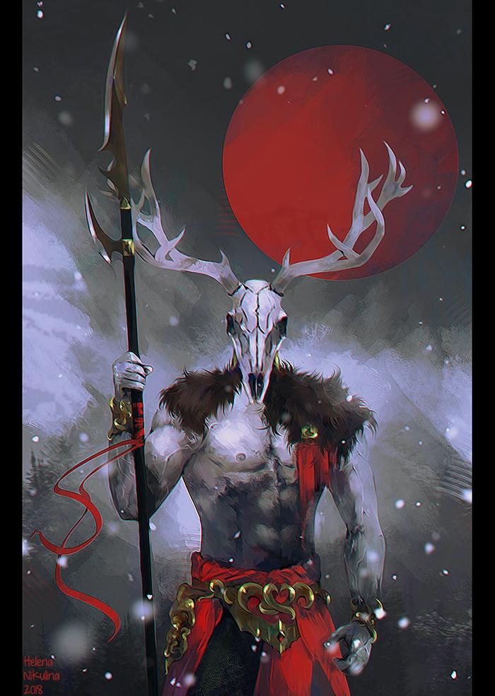 Solstheim - Wild Hunt. Рисунок, Morrowind, Hircine, Фан-Арт, Даэдра, Игры, The Elder Scrolls, Цифровой рисунок