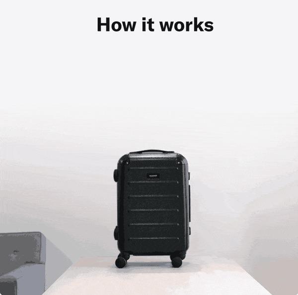 Carry-On Closet: крутой чемодан с выдвижным стеллажом и USB зарядкой Kickstarter, Indiegogo, Чемодан, Путешествия, Круто, Гифка, Длиннопост