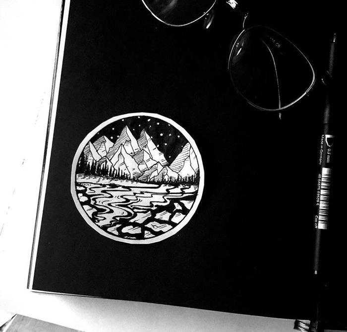 Подборка моих эскизов. Горы Тату, Графика, Эскиз, Эскиз татуировки, Рисунок, Длиннопост