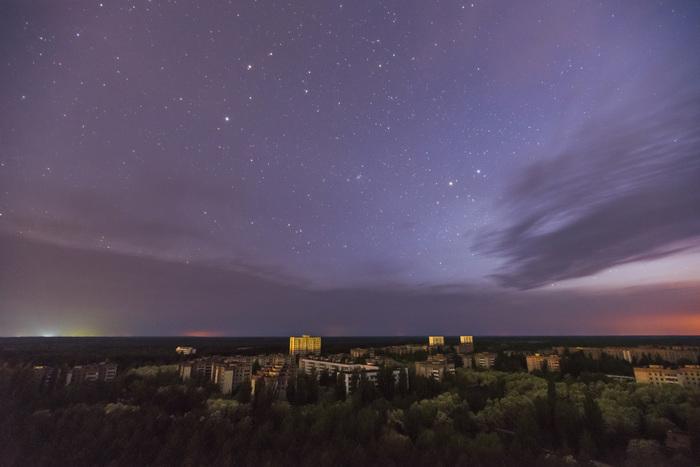 Ночная Припять Припять, Чернобыль, Сталкер, Фотография, Звездное небо, Ночь