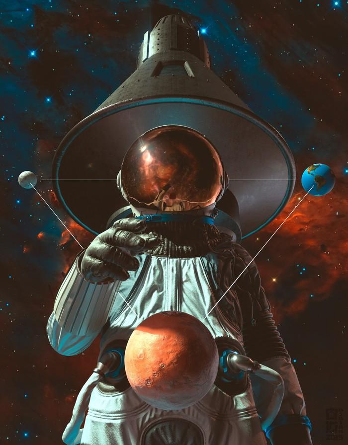 Астронавт Арт, Рисунок, Астронавт, Луна, Земля, Марс