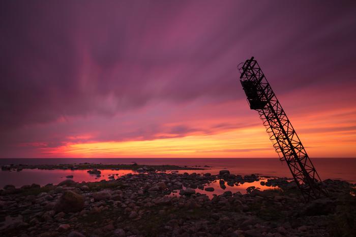 Старая радиовышка Фотография, Закат, Море, Пляж, Длинная выдержка, Облака, СССР