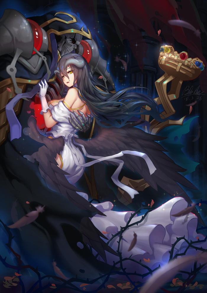 Хозяин и слуга Anime Art, Аниме, Overlord, Ainz Ooal Gown, Albedo