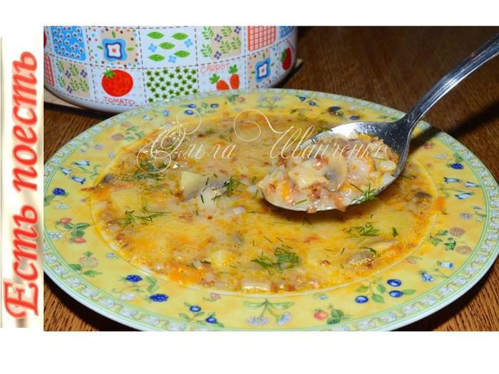 Гречнево-грибной суп Суп, Первое, Рецепт, Видео рецепт, Грибы, Гречка, Сыр, Видео, Длиннопост
