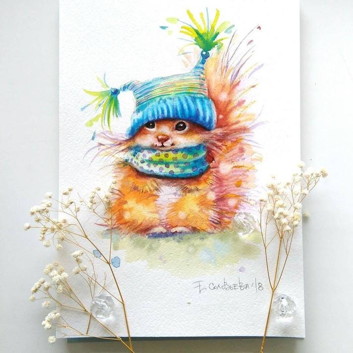 Зверушки Арт, Картинки, Художник, Искусство, Композиция, Животные, Мило, Милота, Длиннопост