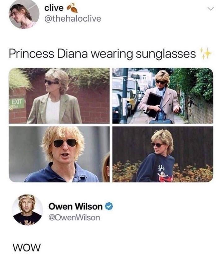 Принцесса Диана в солнечных очках Принцесса Диана, Очки, Оуэн Уилсон, Twitter, Скриншот, Солнцезащитные очки