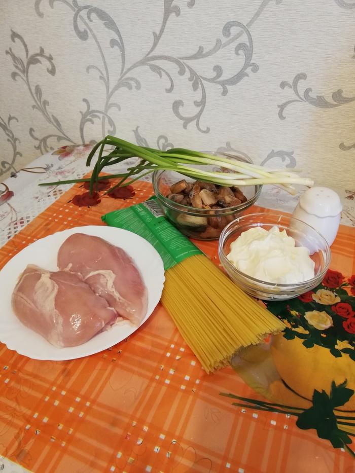 Куриная грудка с грибами и сыром к спагетти... Еда, Спагетти, Куриное филе, Длиннопост