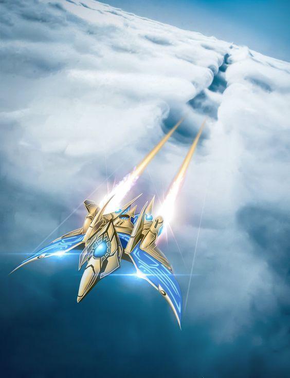 Феникс в небесах. Starcraft, Арт, Протоссы, Феникс, Небо