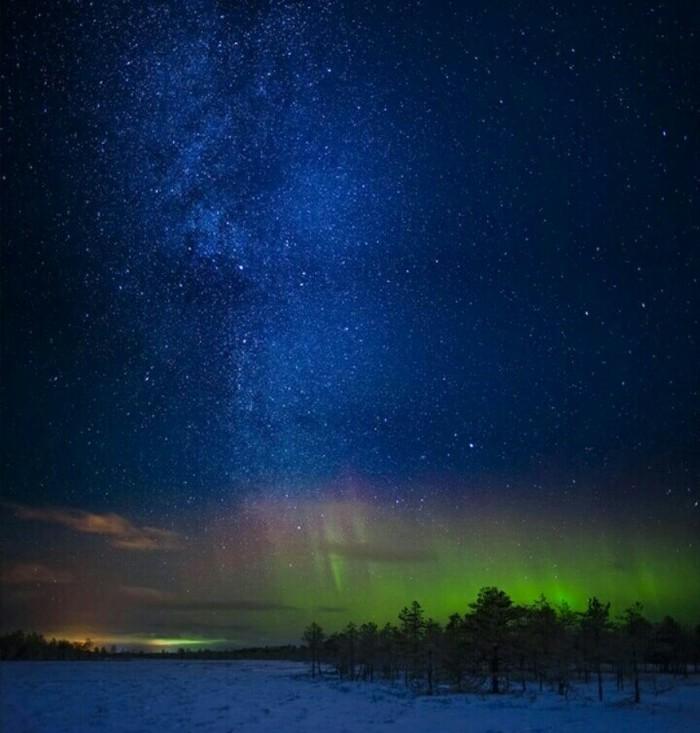 Русский север Русский север, Зима, Снег, Небо, Аврора, Северное сияние