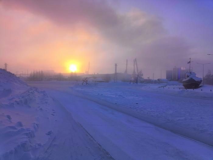 Восход на Крайнем Севере Таймыр, Фотография, Зима, Снег, Восход
